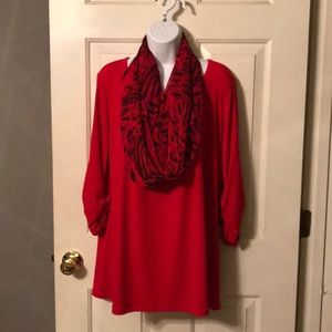 Susan Graver Tunic Top with Scarf Red Sz M